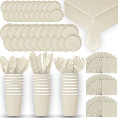 Disposable Paper Dinnerware for 24 - Ivory / Cream - 2 Size plates, Cups, Napkins , Cutlery (Spoons, Forks, Knives), and tablecovers - Full Party Supply Pack](Kids Party Plates And Cups)