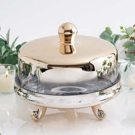 Efavormart Chrome Ombre Glass Cake Stand with Glass Dome Wedding Cake Display Plate - Dome Cake
