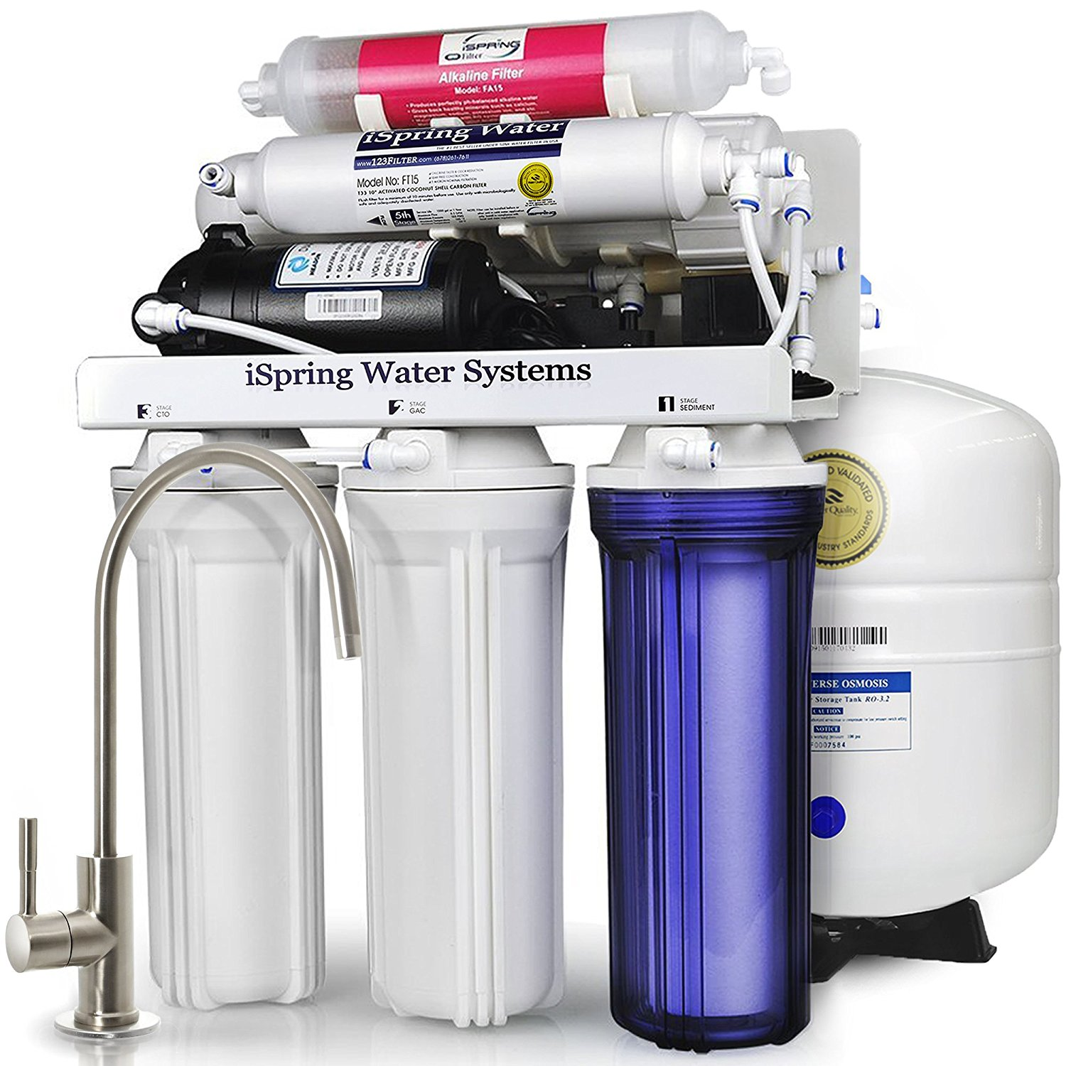 iSpring Reverse Osmosis Water Filter System w/ Booster Pump and Alkalina Mineral Stage - 75GPD WQA Gold Seal Certified 6-stage RCC7P-AK