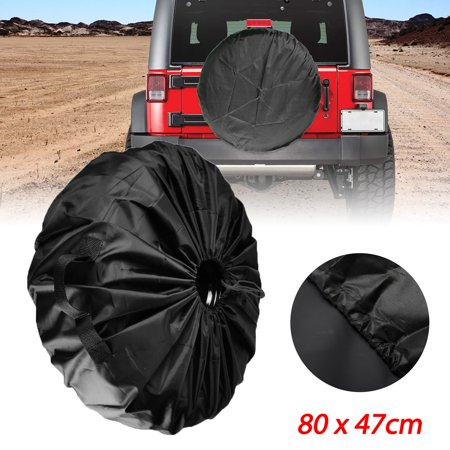 TSV Durable Black Car Spare Tire Cover Protector Universally Fit for Jeep Chevy Kia Honda and More, 80 x 47cm