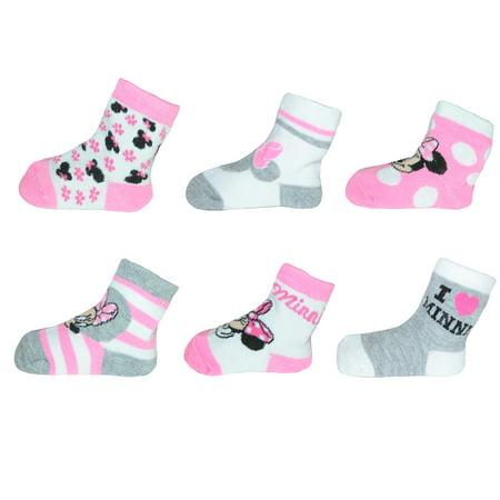 5f4ac748db6b4 Disney Baby Girls Minnie Mouse Socks (6 Pair Pack), , Size: 6-12 Months  Multi