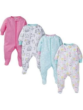 Onesies Brand Baby Girl Pajamas Zip Up Sleep 'N Play Sleepers, 4-Pack