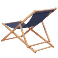 HERCHR Folding Beach Chair Fabric and Wooden Frame Blue