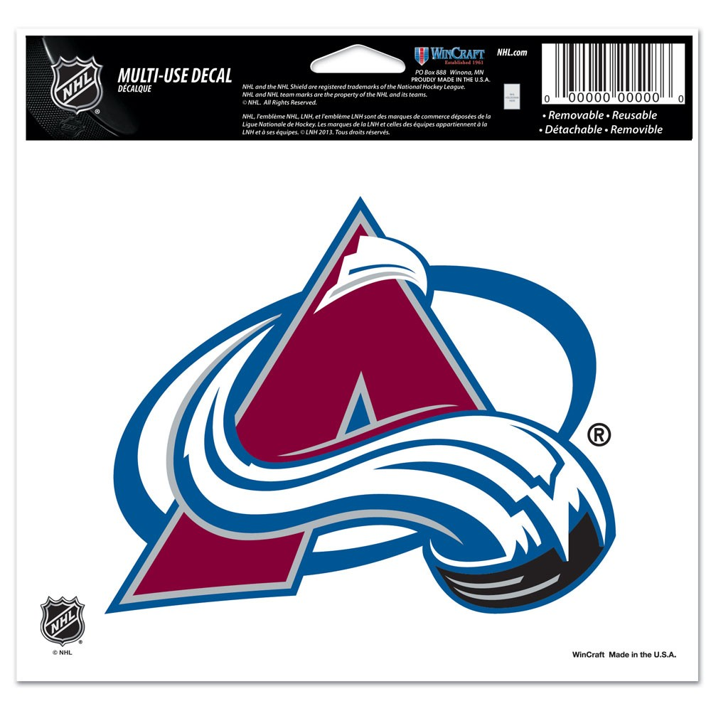 Colorado Avalanche Official NHL 4 inch x 6 inch  Car Window Cling Decal by Wincraft