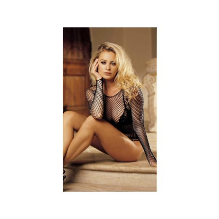 - Shirley of Hollywood IS-SOH-90053 Sexy Long Sleeve Fishnet Top Black / O/S