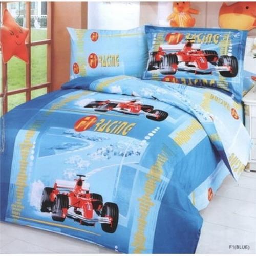 Le Vele LE42T Toddler Room Bedding Modern Twin Duvet Covet Set, Car Racing Blue
