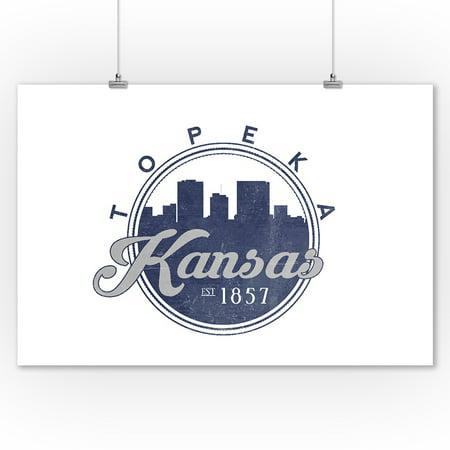 Topeka Kansas Skyline Seal Blue Lantern Press Artwork 9x12 Art Print Wall Decor Travel