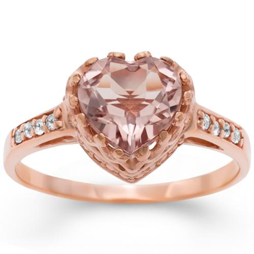 DIAMANTE GROUP Gioelli Tiara Collection Rose Goldplated Silver Simulated Morganite Crown Ring