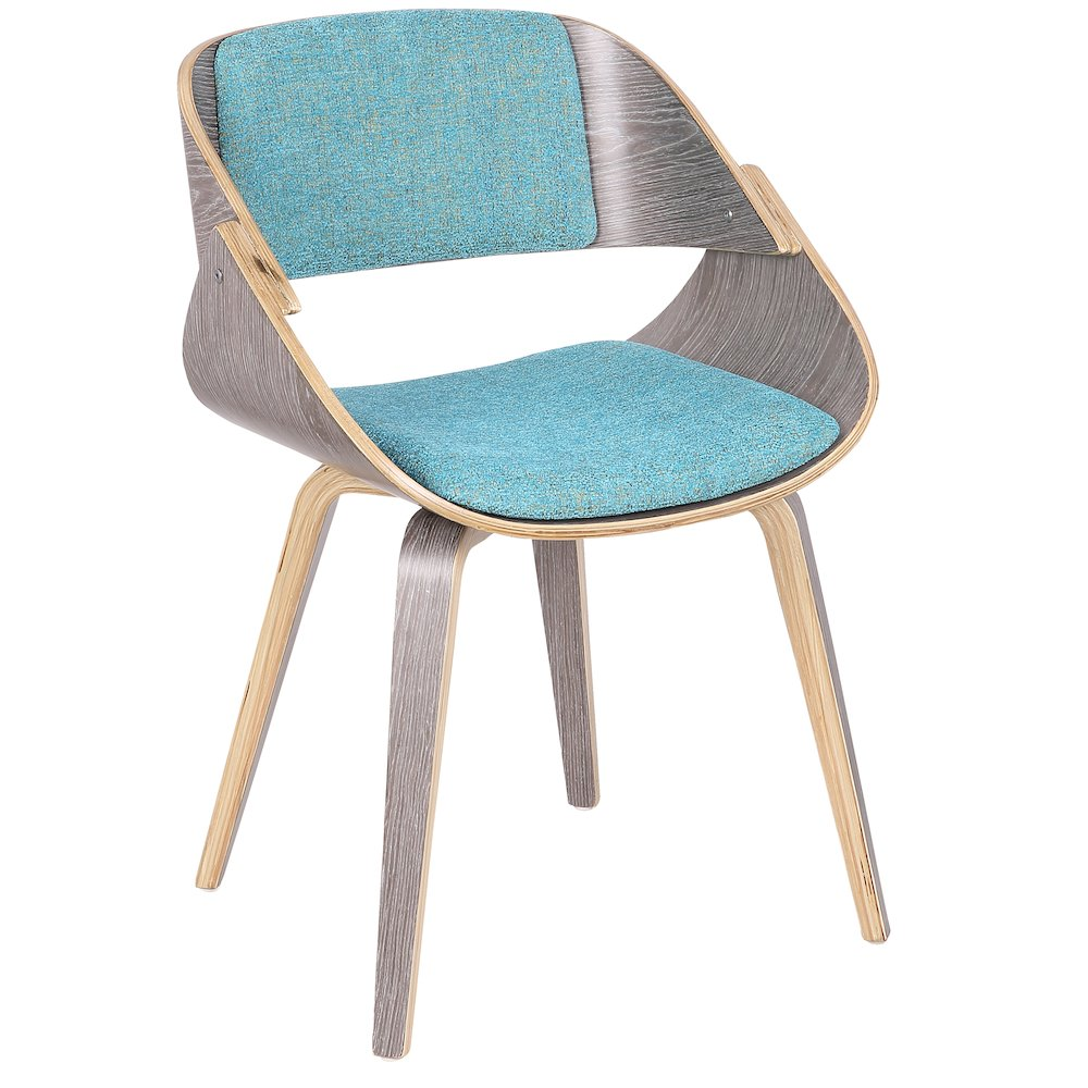 Fortunato Mid-Century Modern Dining Accent Chair in Light Grey with Aqua Fabric by Lumisource by