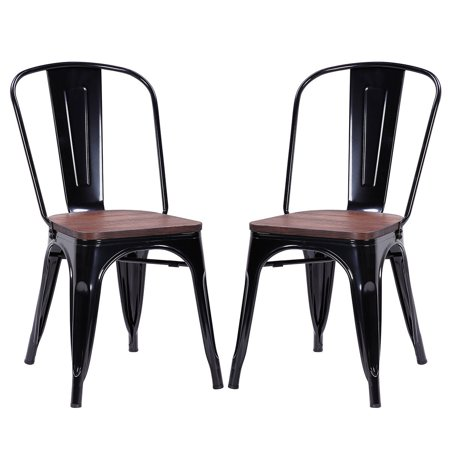 2 Black Dining Chairs - Costway Set of 2 Style Dining Side Chair Stackable Bistro Metal Wood Stool Black