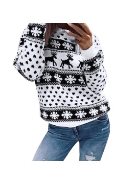 f4e47f2539c3be Product Image Women Xmas Christmas Floral Print Long Sleeve Blouse Top  Sweatshirt