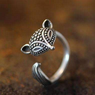 ON SALE - Foxy Lady Adjustable Fox Animal Wrap Ring Silver