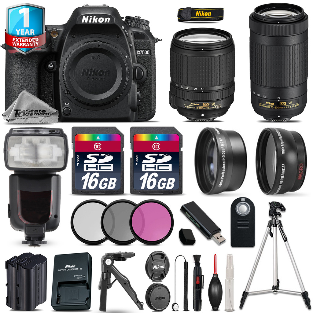 Nikon D7500 DSLR Camera + AFS 18-140mm VR + 70-300mm VR + EXT BAT + 1yr Warranty by Nikon