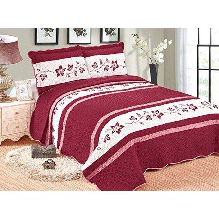 MarCielo 3 Piece Lightweight Bedspread Quilt Set Microfiber Quilt Bedspreads Bed Coverlet Set Prewashed Tacna