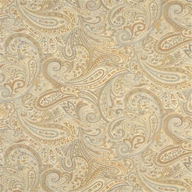 Designer Fabrics F325 54 in. Wide Gold, Blue And Bronze, Paisley Contemporary Upholstery Grade Fabric