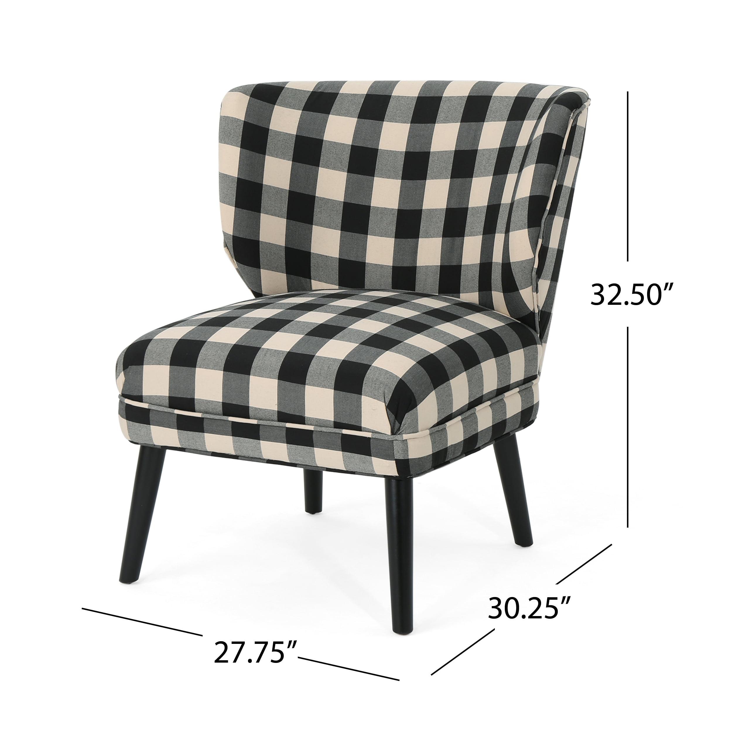 Modern Formal Living Room, Roger Modern Farmhouse Accent Chair Black Checkerboard And Matte Black Walmart Com Walmart Com