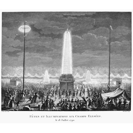 French Revolution 1790 Nthe Festival Of Lights At Champs  Lyses French Line Engraving By Jean Louis Prieur Early 19Th Century Rolled Canvas Art     24 X 36