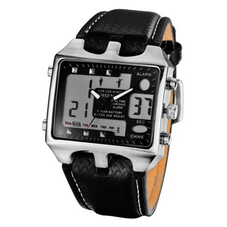 Supersellers Waterproof Sport Watch for Mens, Analog Digital Stainless Steel Dial Leather Bands Watches