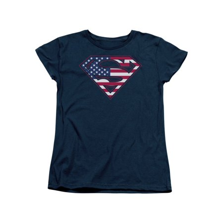 Superman DC Comics Superhero American Flag Classic S Shield Women's T-Shirt Tee](Blue Superhero)