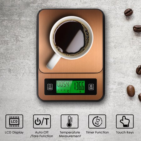 Digital Coffee Scale Multifunction Kitchen Food Scale with Timer Temperature Probe LCD Display Green Backlight 3000g/1g - image 5 of 7