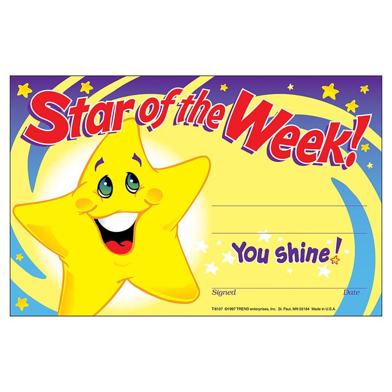 (12 Pk) Awards Star Of The Week 30 Per Pk 5X8