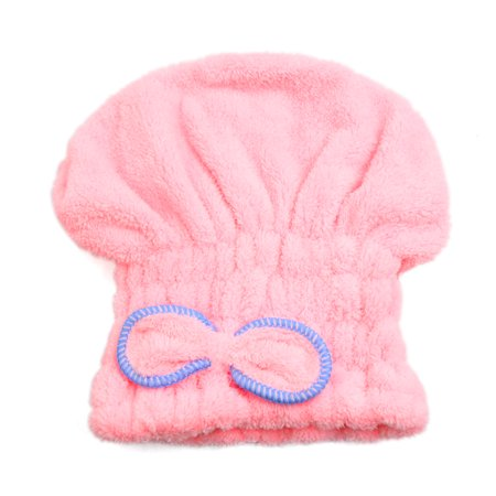 Velvet Turban - Pink Coral Velvet Soft Cute Bowknot Dry Hair Towel Hat Bath Shower Cap for Woman