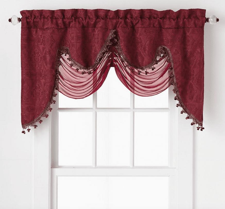 Ultra Elegant Clipped Jacquard Georgette Fringed Window