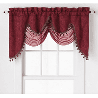Ultra Elegant Clipped Jacquard Georgette Fringed Window Valance With an Attached Sheer Swag by GoodGram - Burgundy