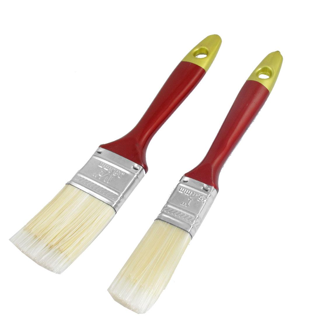 Unique Bargains 2 Pcs Burgundy Plastic Handle Synthetic Hair Head Oil Paint Brushes