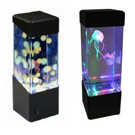 LED Mini Fish Tank Water Light Box Water Ball Aquarium Jellyfish Lamp Bedside Cabinet Lighting Nightlight Style:Jellyfish lamp (Style Fish Lamp)