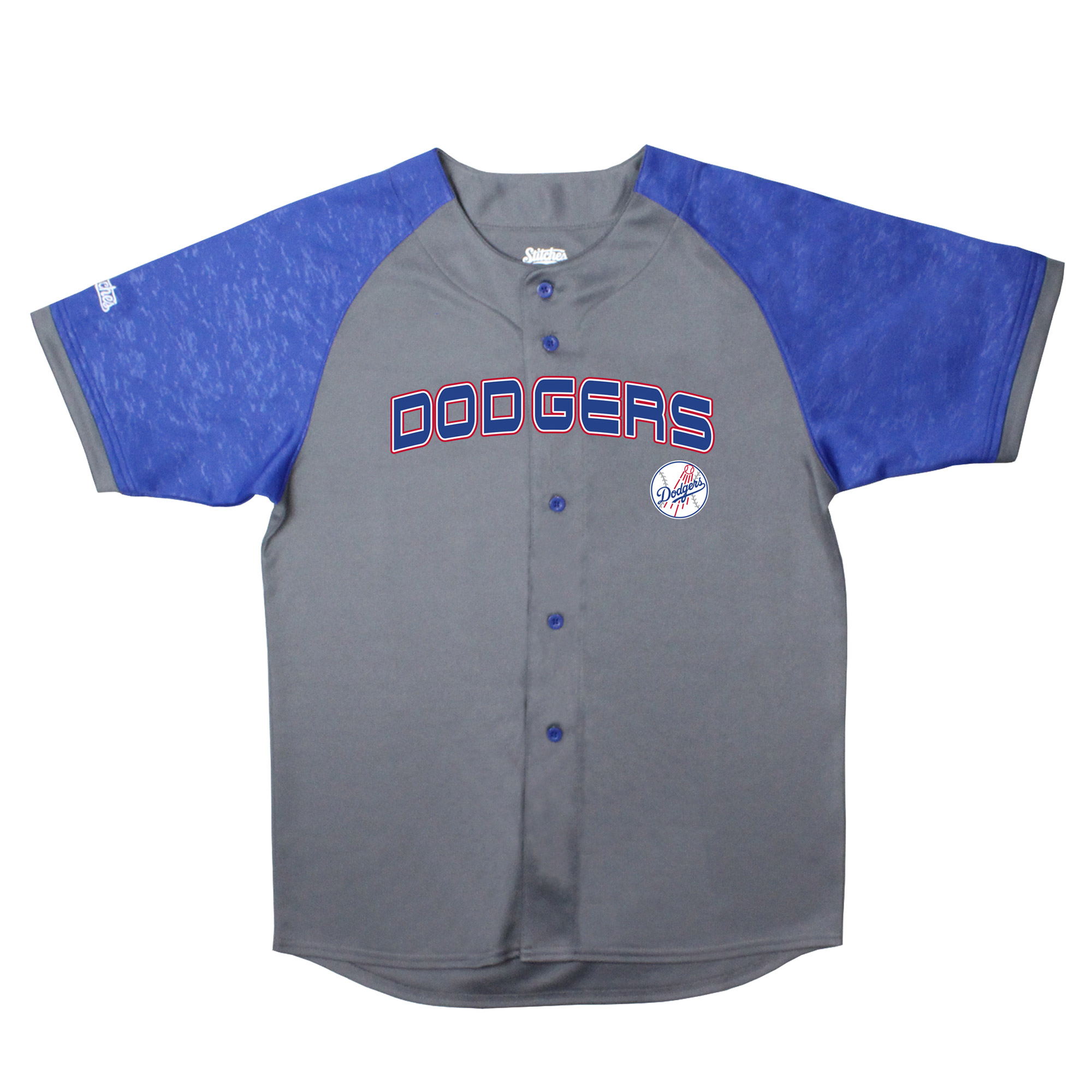 Los Angeles Dodgers Stitches Youth Glitch Jersey - Charcoal/Royal