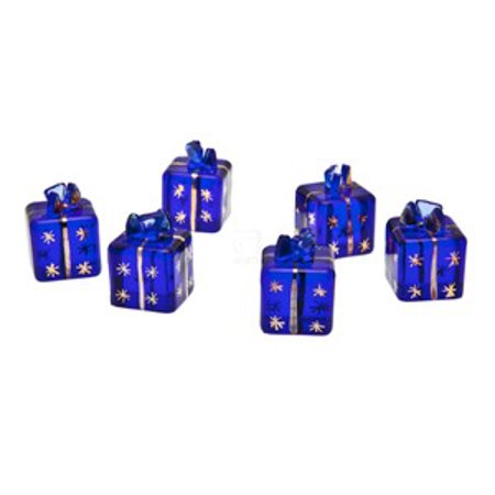 Gift Box Place Card Holder - Dark Blue Gift Box Present Place Card Holiday Christmas Decorative Menu Holders, Set of 6