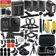 GoPro HERO8 (Hero 8) Action Camera (Black) with Premium Accessory Bundle -Includes: SanDisk Extreme 32GB microSDHC Memory Card, 2x Spare Battery, Dual Battery Charger, Underwater LED Light & MUCH MORE