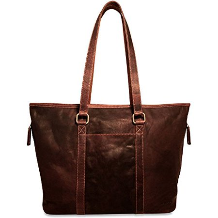 Jack Georges Voyager Shopper Zip Top Tote Bag, Leather Handbag in Brown