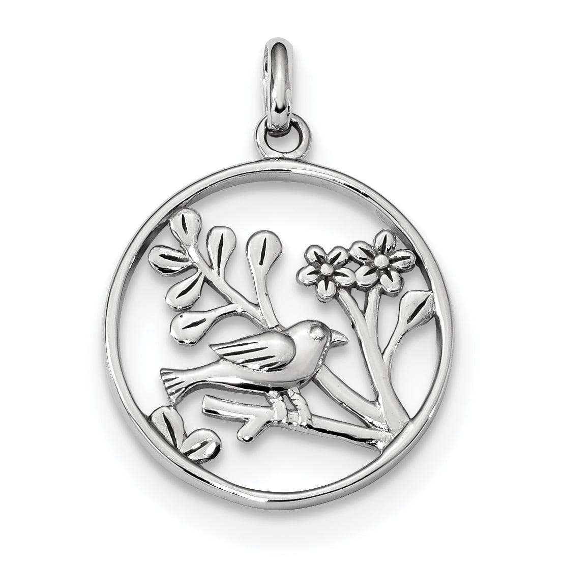 925 Sterling Silver Bird Flowers Pendant Charm Necklace Flower Gardening