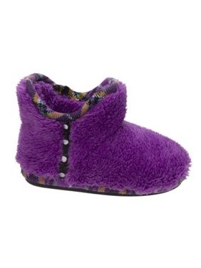 47bb7457f3331a Product Image Dearfoams Girl s Pile Bootie w Mixed Material Trim Slippers