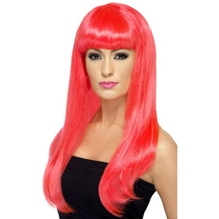 Babelicious Long Costume Wig Adult: Neon - Neon Pink Wigs