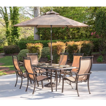 Hanover Manor 7 Piece Outdoor Dining Set With Umbrella And Stand