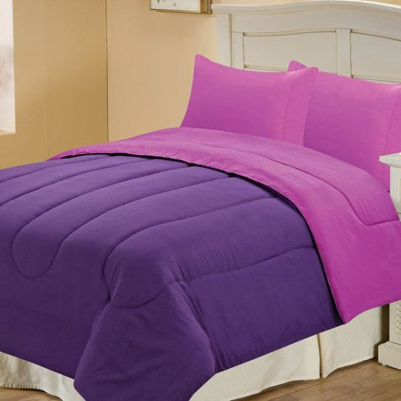 chic home microfiber reversible comforter twin purple plum. Black Bedroom Furniture Sets. Home Design Ideas