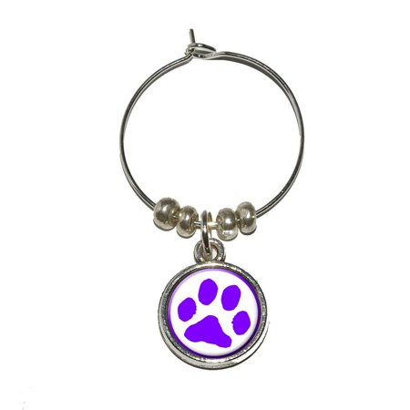 Paw Print - Purple Wine Glass Charm