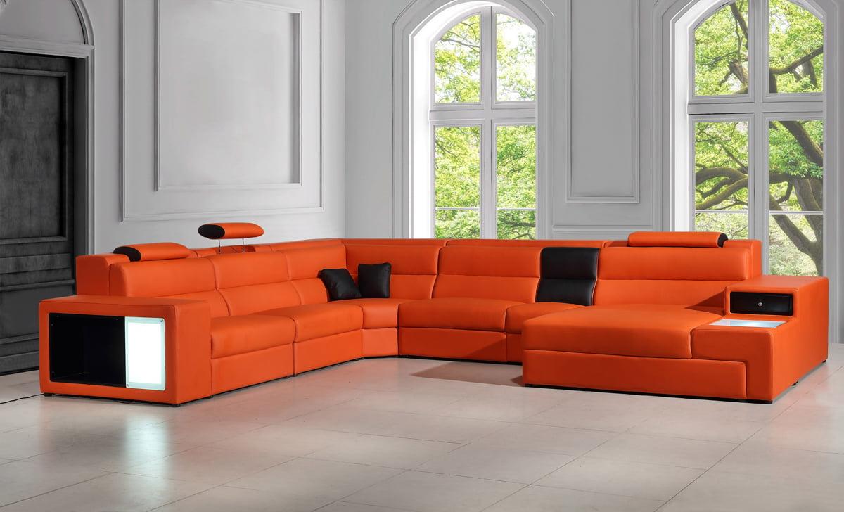 Divani Casa Polaris - Contemporary Bonded Leather Orange Sectional  Sofa-Color:Orange,Finish:Orange