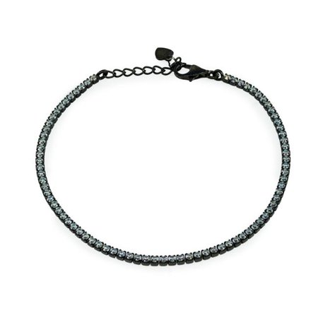 Fronay 102121B Midnight Black Plated Sterling Silver Mini Brilliant CZ Tennis Bracelet - image 1 de 1
