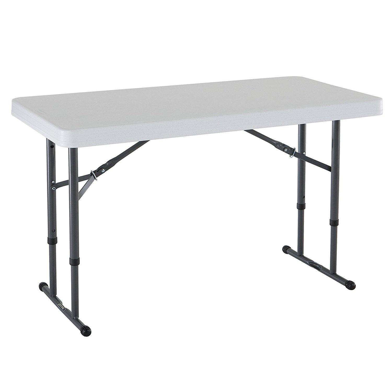 Lifetime 4' Adjustable Folding Table, White Granite, 80160