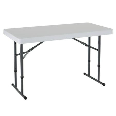 Lifetime 4' Adjustable Folding Table, White Granite, 80160 ()