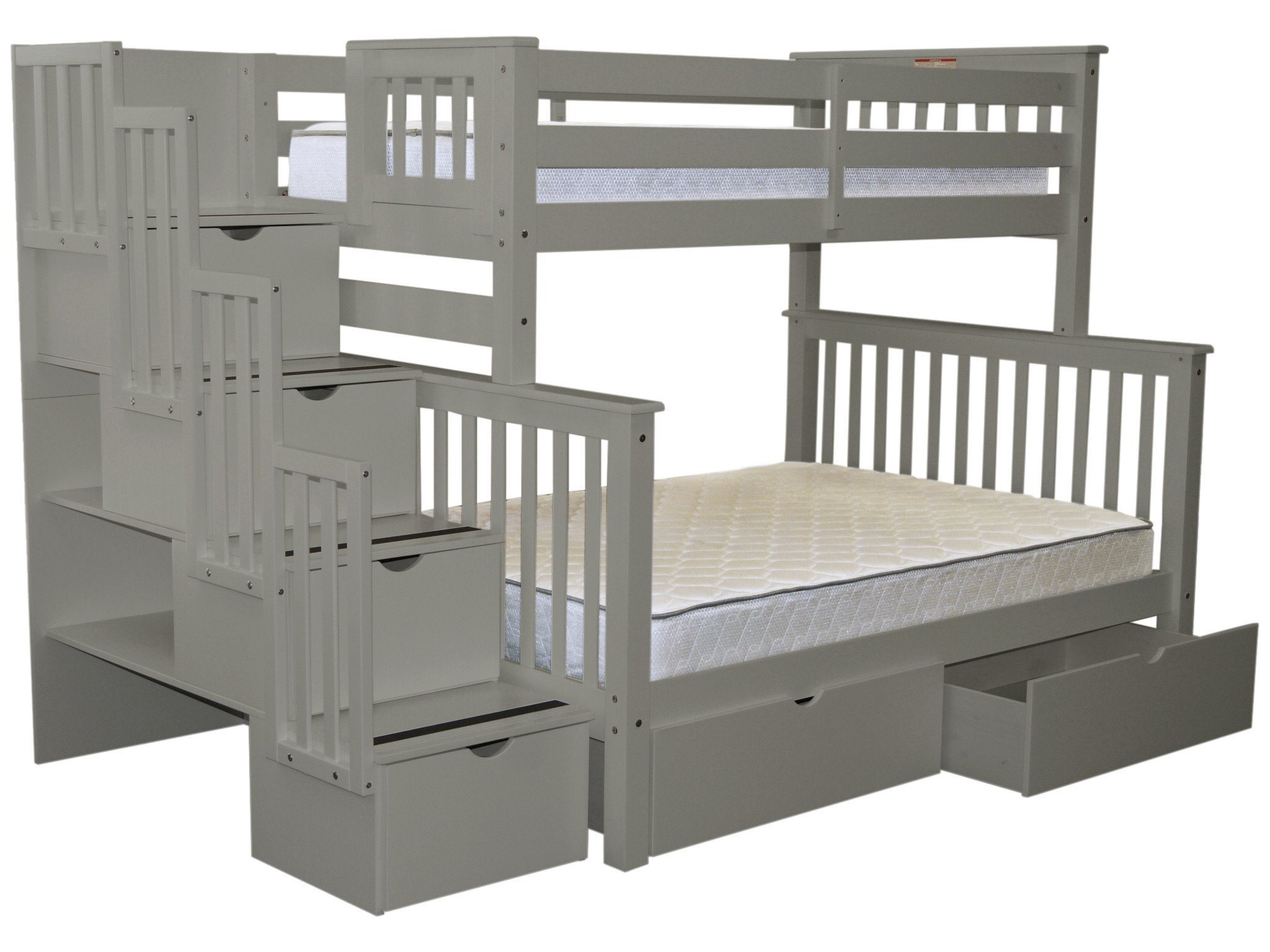 Bedz King Stairway Bunk Beds Twin Over Full With 4 Drawers In The Steps And  2 Under Bed Drawers Gray