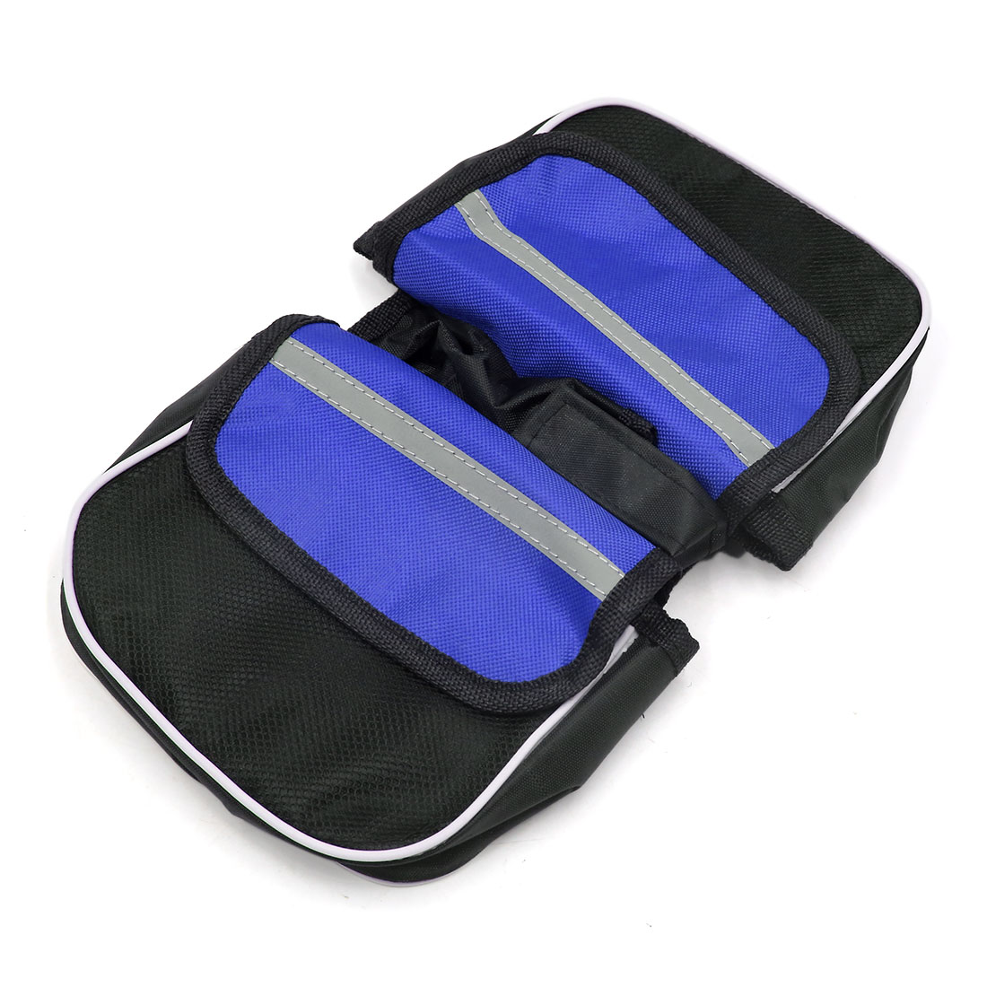 Blue Black Outdoor Bike Bicycle Double Side Pocket Front Tube Bag Pouch