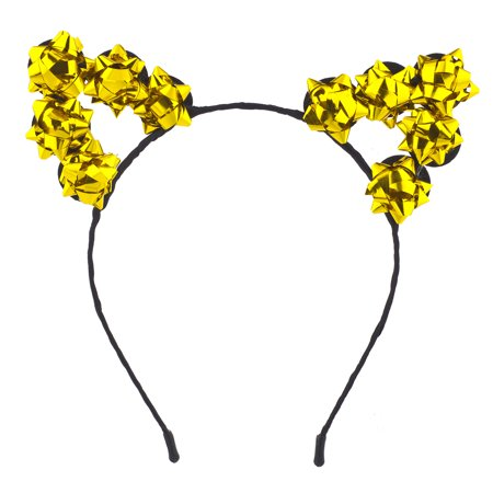 Lux Accessories GoldTone Christmas Holiday Accessories Gift Bow Cat Ear Headband
