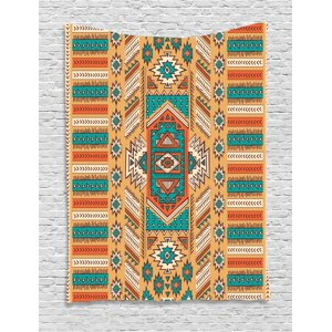 Tribal Decor Tapestry, Indian Aztec Secret Tribe Pattern Native American Bohemian Style, Wall Hanging for Bedroom Living Room Dorm Decor, 60W X 80L Inches, Apricot Orange and Teal, by Ambesonne
