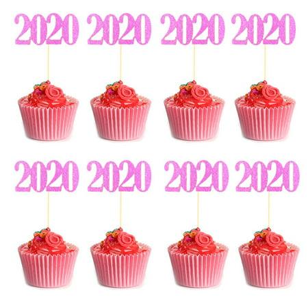 Cheers 24Pcs 2020 Number Birthday Cake Topper Dessert Flag ...