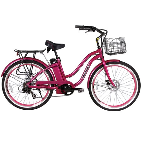 X-Treme Malibu Beach Cruiser Lithium Battery Electric Bicycle; Pink (Pink Beach Cruiser Bike)